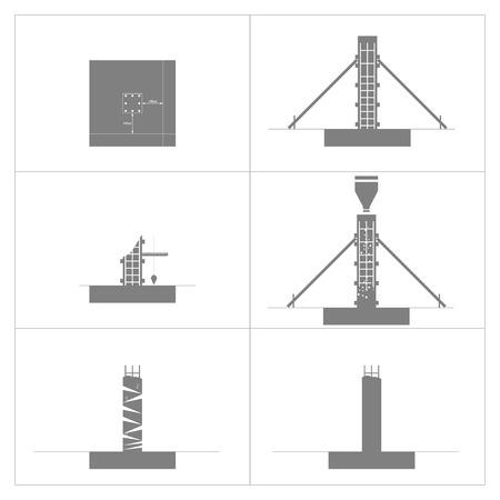 Déclaration de méthode de colonne de construction et de béton, icônes, vecteur, illustration.