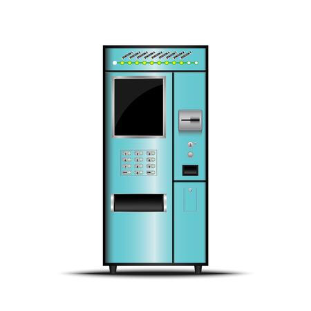 티켓 기계, 셀프 서비스 티켓 기계, 벡터, 일러스트 레이션.