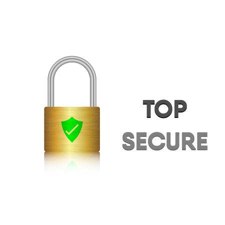 Security key lock, Steel metal lock, Vector, Illustration
