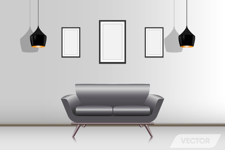 Realistic modern couch in living room., Vector, Illustration