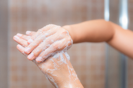 Close up of washing hands, cleaning hands Stock Photo