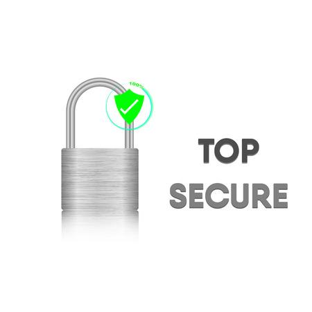 Security key lock, Steel metal lock, Vector illustration.