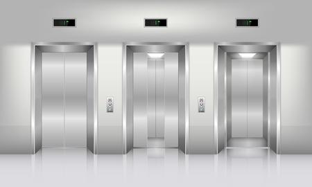 Realistic elevator in office building., Interior concept, Vector, Illustration
