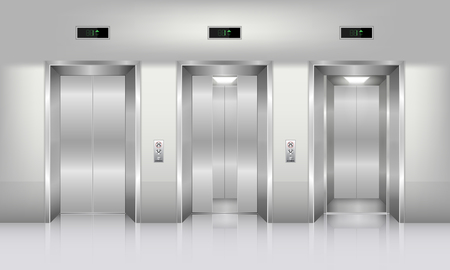 Realistic elevator in office building., Interior concept, Vector, Illustration