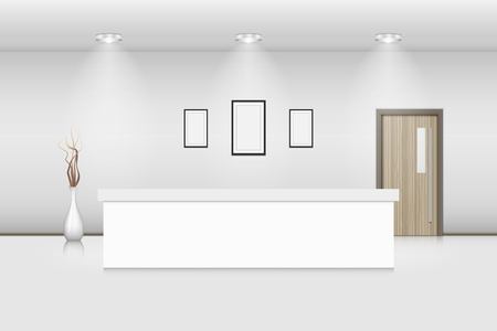 Reception counter and interior decorative., Vector, Illustration