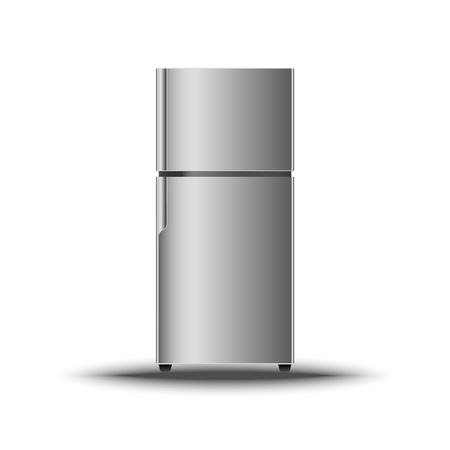 Realistic modern vertical refrigerator on isolate white background., Vector, Illustration Stock Illustratie