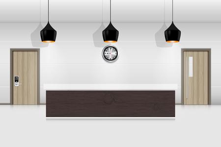 Reception counter and interior decorative., Vector, Illustration