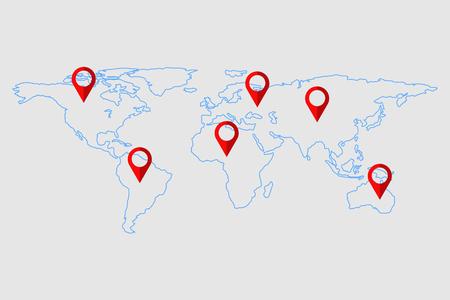 World map check in and pin checking mark., Vector, Illustration Ilustração