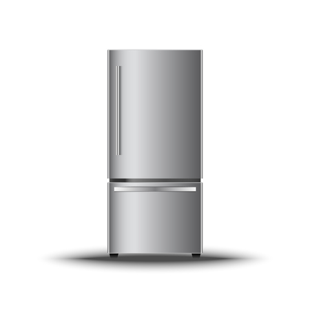 Realistic modern vertical refrigerator on isolate white background., Vector, Illustration Illustration