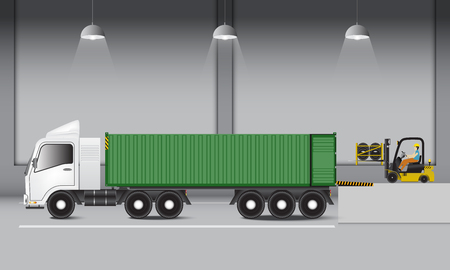 Logistics warehouse and loading dock, rubber wheels transportation and supply. Industrial scene Ilustração