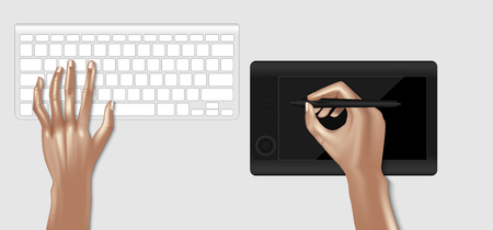 Top view mockup of graphic designer workplace. Keyboard and graphic tablet, vector design. Illustration