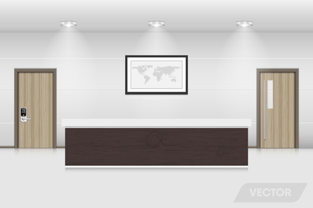 Reception counter and interior decorative., Illustration
