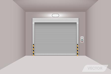 Rolling shutter door in warehouse workshop.Illustration. Banque d'images - 104004875