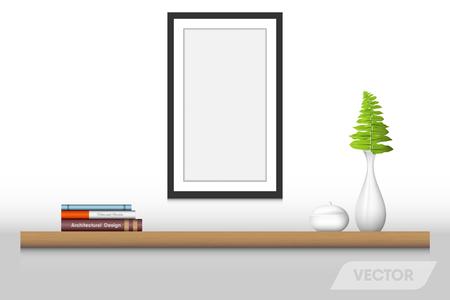 Book shelf and decorative interior., Vector design.