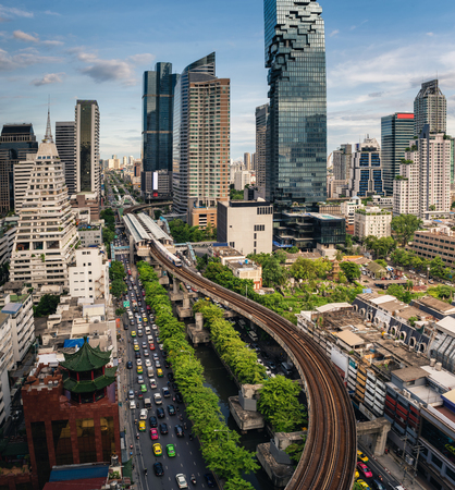 Bangkok cityscape and business district of Thailand.