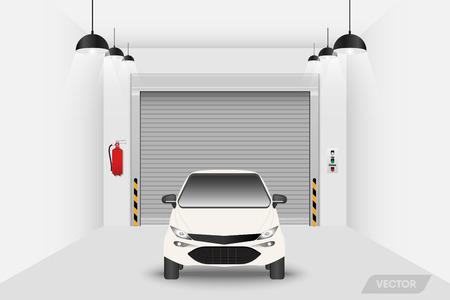 Car garage workshop and rolling shutter door., Vector, Illustration.