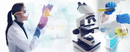 Scientist is testing and doing lab sample with microscope in laboratory.
