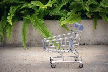 Mini shopping cart, Sale and e-commerce concept.