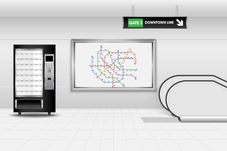 Metro interior design and vending machine., Tube, Underground, Subway
