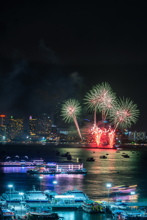 Firework festival at Pattaya Beach, Thailand.