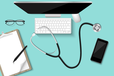 Doctor's table desktop with personal equipment., Healthcare and occupation concept, Vector, Illustration.