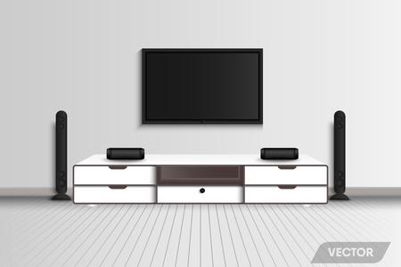 Interior design del soggiorno e stereo ricreativo decorativo., Vector, Illustration