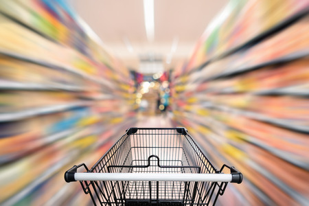 Abstract defocus blurred of consumer goods in supermarket grocery store., Business retail and customer shopping mall service., Motion blurry concept.