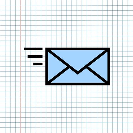 Icono de símbolo de correo de notificación de mensaje sobre fondo de nota de papel, icono de medios de comunicación tecnológica y concepto de comercio electrónico empresarial. Vector, Ilustración Ilustración de vector