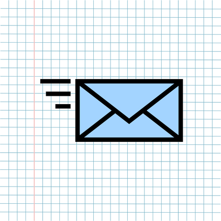 Message Notification Mail Symbol Icon on Paper Note Background, Media Icon for Technology Communication and Business E-Commerce Concept. Vector, Illustration Vector Illustratie