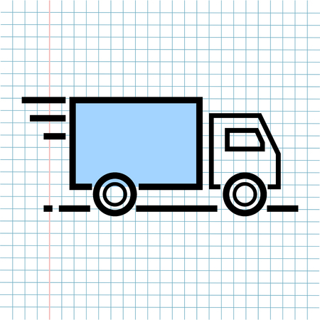 Logistics Delivery Shipping Symbol Icon on Paper Note Background, Media Icon for Technology Communication and Business E-Commerce Concept. Vector, Illustration