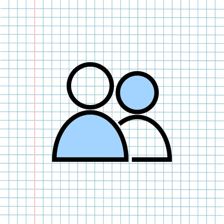 Personal Users Icon on Paper Note Background, Media Icon for Technology Communication and Business E-Commerce Concept. Vector, Illustration