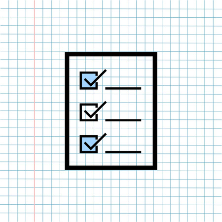 Checklist Box Symbol Icon on Paper Note Background, Media Icon for Technology Communication and Business E-Commerce Concept. Vector, Illustration