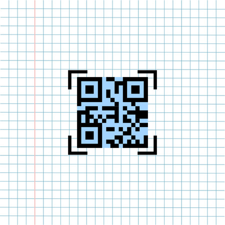 QR Payment Code Symbol Icon on Paper Note Background, Media Icon for Technology Communication and Business E-Commerce Concept. Vector, Illustration Banque d'images - 123254786