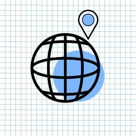 GPS Navigation Icon Sign Concept, Vector Graphic Design of Direction Navigator Symbol for Travel Destination, Traffic Label and Mapping Web Element Isolated on Paper Grid Background.