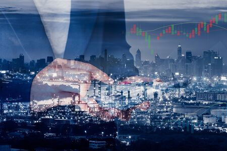 Business Accountant and Financial Trading Double Exposure Concept, Business Woman Using Calculator for Stock Investment With Oil Refinery Plant Background., Strategy Accounting and Investing Trade.
