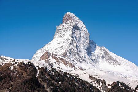 Natural Landscape Scenery View of Matterhorn Mountain Peak at Zermatt, Switzerland, Majestic Geologic Mountain Range of Alpine. Beautiful Nature Tranquility of Swiss Alps, Travel Destination