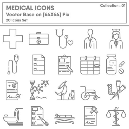 Medical Physician Occupation and Healthcare Icon Set, Icons Collection for Business Medicine Hospital and Insurance. Vector Illustration Design Ilustracja