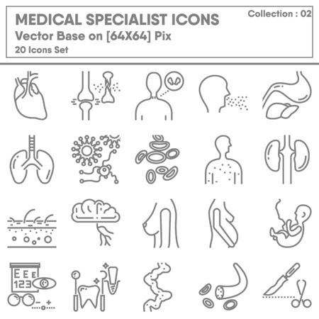 Medical Specialist Occupation and Healthcare Icon Set, Icons Collection for Business Hospital and Clinic, Medicine Professional Physician. Illustration Design Illusztráció