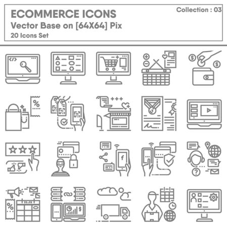E-commerce Shopping Online and Marketing Network Icons Set, Icon Collection for Business Market Website Advertising. Store Internet Online and Mobile Convenience Shop, Infographic Illustration Design.