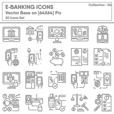 Business Finance E-Banking and Money Transaction Icons Set, Icon Collection for Technology Internet Online Banking. Mobile Payment and Convenience Currency Exchange, Infographic Illustration Design.