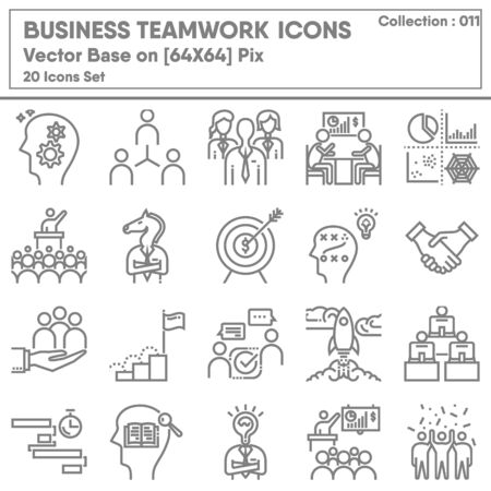 Business Teamwork and Leadership Icon Set, Icons Collection of Business Entrepreneur for Management Symbol. Leadership Team and Organization Human Resources, Vector Illustration Concept Design.