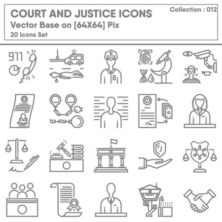 Court and Justice Icon Set, Icons Collection of Lawyer Legal and Law Consulting Symbol. Barrister Judge for Criminal Investigation, Vector Illustration Concept Design.