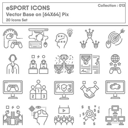 Competition eSport Gaming Icon Set, Icons Collection of Competitive Tournament Digital Game for e-Sport Symbol. Teamwork Gamers Championship and Entertainment, Vector Illustration Concept Design.