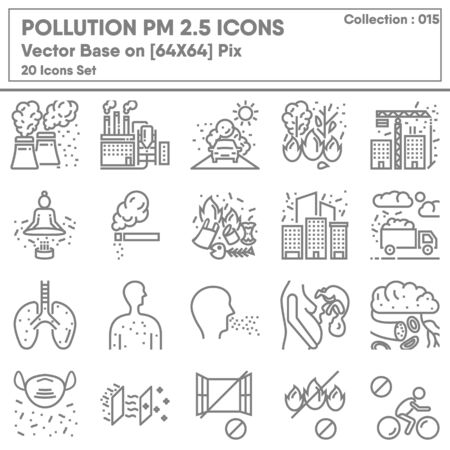 Pollution Dust PM 2.5 Icon Set, Icons Collection of Healthcare and Medical for Health Hazard Pollution Symbol. Climate Unhealthy and Sensitive for Human Breathing, Vector Illustration Concept Design.