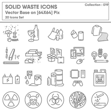 Garbage Category and Solid Waste Icon Set, Icons Collection of Garbages Recycle and Hazard Warning Symbol. Renewable for Environmental Sustainable Concept Design.