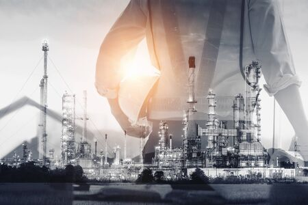 Petroleum Industry Oil and Gas Refinery Plant, Double Exposure of Factory Service Engineer With Process Building Oil Manufacturing Industrial Background. Engineering Construction Chemical Plant