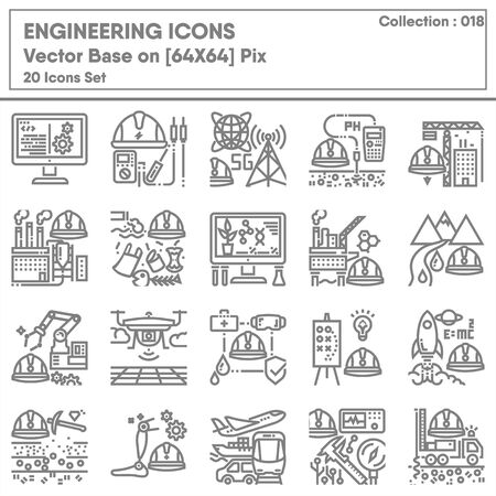 Business Engineering and Manufacturing Factory Icon Set, Universal Industrial Development and Engineer Occupation Icons Design. Business Industry and Career Jobs Concept