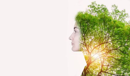 Double Exposure of Nature Tree and Woman Portrait, Natural Body Skin Care for Beauty Face Concept. Creative Idea Nature Ecology and Eco Care for The People, Abstract Beauty Conceptual