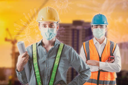 Coronavirus Covid-19 Disease Epidemic Crisis Situation, Construction Worker Standing in Line for Fever Body Scanning Thermometer Scan at Construction Site.Corona-Virus Covid19 Prevention of New Normal 写真素材