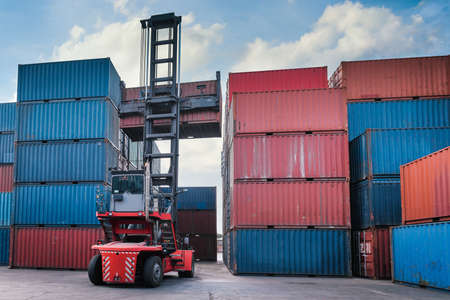 Container Cargo Port Ship Yard Storage Handling of Logistic Transportation Industry. Row of Stacking Containers of Freight Import/Export Distribution Warehouse. Shipping Logistics Transport Industrial Imagens